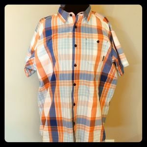 Columbia orange white blue plaid short sleeve